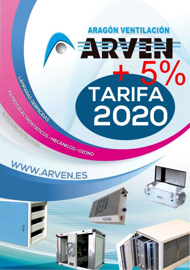 5-portada-tarifa-unidades-filtrantes-electrostaticos-mecanicos-ozono-lamparas-germicidas-arven_2020